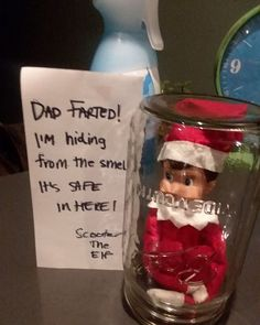 Here are over 70 Elf on the Shelf Ideas for Kids. These funny Elf on the Shelf ideas with notes will surely be a fun thing to do with kids for Christmas. Elf on the Shelf Ideas for Kids With Messages Which Kids Are Gonna Love - Hike n Dip Christmas Elf, Christmas Crafts, Christmas Decorations, Christmas Ideas For Kids, Christmas Cookies, Christmas Messages, Christmas Balls, Christmas Desserts, Elf Decorations