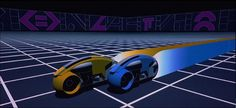 Cycle race from the original Tron movie, vector graphics.
