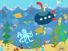 """Underwater Submarine"" Kid's Wall Decor by Amy Schimler-Safford for Oopsy Daisy, Fine Art for Kids sizes 24x18 $119 and 40x30 $249"