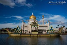 Brunei, Bandar Seri Begawan - - The Mosque on Water - by Emanuele Del Bufalo-  Sultan Omar Ali Saifuddien Mosque is an Islamic mosque considered as one of the most beautiful mosques in the Asia Pacific. Built in an artificial lagoon on the banks of the Brunei River at Kampong Ayer. The mosque has ... (continued) www.emanueledelbufalo.com Beautiful Mosques, Beautiful Places, Beautiful Pictures, Bandar Seri Begawan, Brunei, Pet Portraits, Travel Inspiration, Traveling By Yourself, Taj Mahal