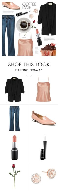 """""""Buzz Worthy: Coffee Date"""" by ames-ym ❤ liked on Polyvore featuring River Island, Alice + Olivia, prAna, Franco Sarto, MAC Cosmetics, Saks Fifth Avenue and CoffeeDate"""