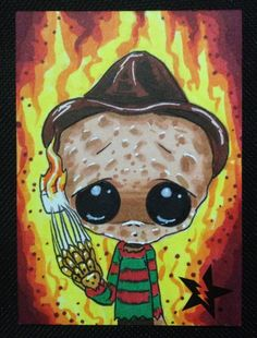 Sugar Fueled Freddy Krueger Nightmare Elm St Creepy Cute Big Eye ACEO Mini Print | eBay