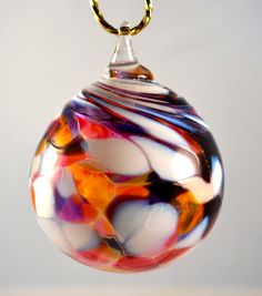 Hand Blown Glass Christmas Ornament Pink, White and Purple