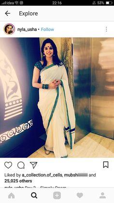 Nyla Usha in emerald onam sareei Kerala Saree Blouse Designs, Saree Blouse Neck Designs, Half Saree Designs, Saree Blouse Patterns, Designer Blouse Patterns, Onam Saree, Kasavu Saree, Set Saree, Saree Dress
