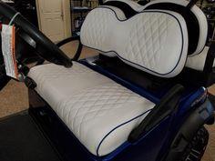 Club Car Precedent Golf Cart Premium™ Diamond Pleated Seat Covers(White, Blu PP) #KoolCushions Golf Cart Seat Covers, Golf Cart Seats, Golf Carts, Car Seats, Carbon Fiber, Cushions, Club, Diamond, Ebay