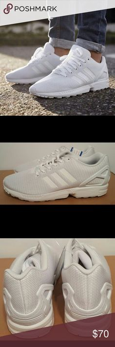Adidas ZX Flux Triple White NWOT Old school Caddy cruising, you got earth wind and fire blasting.  Weekends you stay white on white crispy fresh. White sweat rag for that clean Bald head . Other rag in your back pocket hanging out. 5 crispy white AF1'S sitting in your closet,  Bluetooth never leaves your ear. Your BBQ game is on point. Golds in your mouth. Dark shades.  Plate of Big mamas potato salad and a game of Dominoes. Well Unc, ZX Flux is perfect shoe for the 4th, that completes your…