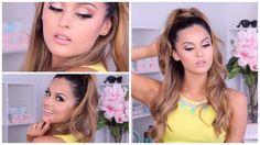 Ariana Grande Half Up Half Down Hair Tutorial Ariana Grande Make Up, Ariana Grande Concert, Everyday Hairstyles, Trendy Hairstyles, Ariana Grande Makeup Tutorial, Half Up Half Down Hair Tutorial, Makeup Tutorials Youtube, Hair Tutorials, Dominique