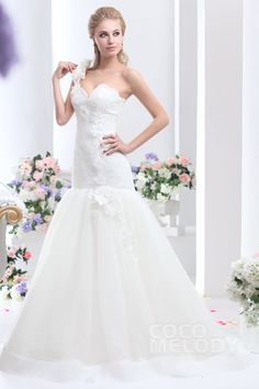 Dreamy One Shoulder Court Train Tulle Lace Up-Corset Wedding Dress CWLT130D1 #weddingdresses #cocomelody