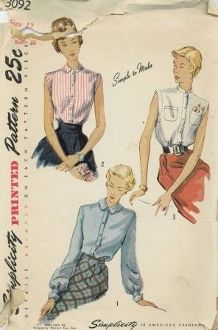An original ca. 1940's Simplicity Pattern 3092.  The dart-fitted blouse has a front band fastened with buttons.  Style 1 has long bishop sleeves fitted to a wide wristband and finished with turned-back scalloped cuffs.  Scallops are repeated on the Peter Pan collar.  Styles 2 and 3 are sleeveless and the armholes are finished with bands.  Style 2 blouse has a small pointed collar.  The neckline in Style 3 is banded with a small stand-up collar, and two patch pockets grace the front.