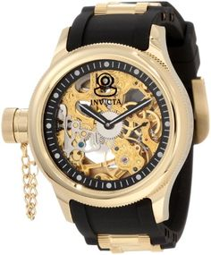 Men's Wrist Watches - Invicta Mens 1844 Russian Diver Mechanical Gold Tone Skelton Dial Black Polyurethane Watch * Want to know more, click on the image.