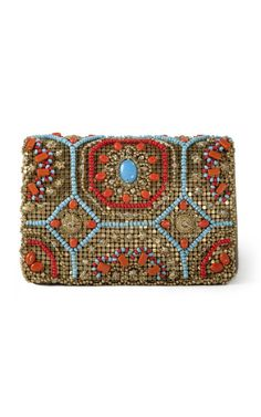 Shop Marchesa Beaded Clutch Handbag - Love the combination of gold, turquoise & orange