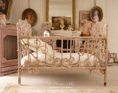 Shabby pale pink baby bed, sweet nursery, French dollhouse miniature furniture 1:12th scale