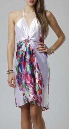 Coral Modern Flower Jane Halter Dress