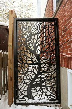 Metal Garden Fencing, Garden Fence Art, Garden Fence Panels, Outdoor Privacy Panels, Tor Design, Fence Design, Home Room Design, Decorative Panels, Wall Art Designs