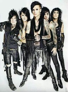 "The guys in order: Jake Pitts, Ashley Purdy, Andy Biersack, Jeremy ""Jinxx"" Ferguson, Christian ""CC Coma"" Mora"