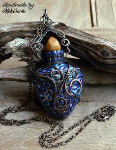 Azul colgante collar azul cadena collar aromaterapia colgante aromaterapia aromaterapia joyería collar arcilla del polímero joyería para las mujeres