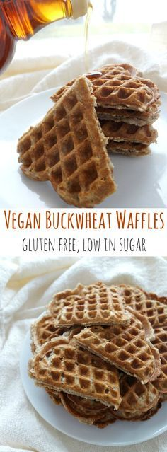 Vegan Buckwheat Waffles - gluten free, low in sugar