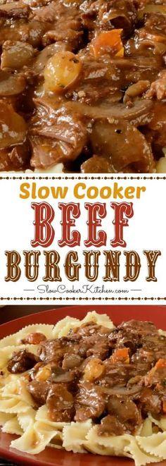 Slow Cooker Beef Burgundy (Crock Pot, Instant Pot, Freezer Meal) - New Ideas Slow Cooker Tacos, Slow Cooker Beef, Slow Cooker Recipes, Crockpot Recipes, Cooking Recipes, Freezer Recipes, Beef Freezer Meals, Freezer Cooking, Slow Cooking