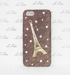 Gold Glitter Eiffel Tower Crysteal Logo Bling Phone by LePatri