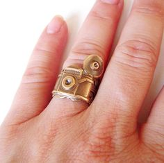 Steampunk Camera Ring Adjustable Antique Brass by BellaMantra