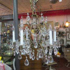 Sold vintage antique 8 arm brass and crystal chandelier circa 1920s sold vintage antique 6 arm patinated brass and crystal chandelier circa 1940 elegant bobeche swag 595 aloadofball Images