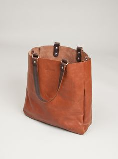 leather tote bag- riveted handles w/ brass rings
