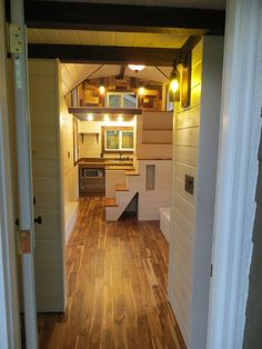 white interior tiny housetiny home with lofts and catwalk built