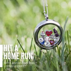 Baseball season is upon us!  Design your very own living locket today.  You could put their team colors, a baseball and their number inside.  What a cute way to show off your love for baseball!  www.charmedlocketsbyvicki.origamiowl.com