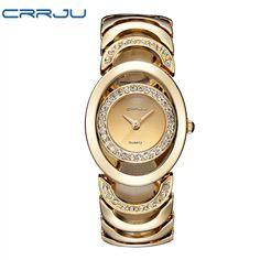 Luxury Brand CRRJU Quartz  Women's  Bracelet with Rhinestones Watch Waterproof