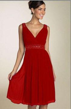 Wholesale Evening Dresses - Buy A-Line V-Neck Knee-Length Zipper Sleeveless Beads Sequins Chiffon 2015 New Simple Evening Dress for Women, $69.07 | DHgate.com