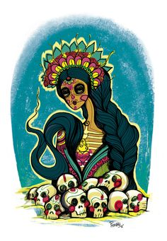 https://flic.kr/p/G1qumG | Santísima muerte | Ilustración hecha por encargo   Técnica mixta (linea manual y color y agregados digitales)   Día de los muertos. Arte mixto y digital   Ilustración por PickaBel