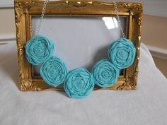Rosette Necklace Fabric Rosette Necklace Aqua by JessieKateDesigns, $28.00