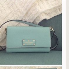 Kate spade turquoise mint crosbody In Euc. Card slots. Strap comes off. No dustbag..NO TRADES DONT ASK. IF YOURE THINKING OF LOWBALLING MOVE ALONG.. Reasonable offers pleae kate spade Bags Crossbody Bags