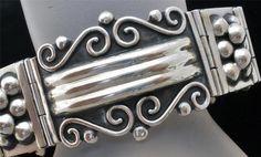 Signed CII Sterling Silver Repousse Mexico Estate Bracelet Vintage   eBay