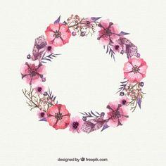 Aquarell rosa Blumenkranz