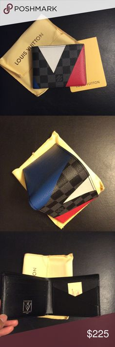 Cobalt Canvas Slender Wallet Regatta N41592 Top quality leather wallet. What you see, Is what you will get.       Ladies And Gentlemen is 100% Authentic   Color Dame cobalt blue / red / white Material Canvas Damier co regatta.  Come with Box, dust bags, authentic card, Booklet, Serial number inside Wallet as you can see at pic.   No asking if you interested give me best off or get it and we will do fast shipping for you, please read description. Thank Louis Vuitton Bags Wallets