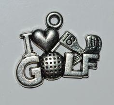 I Love Golf Charm