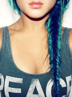 Don't know why., but I've always wanted streaks of hair this color. Deep turquoise.