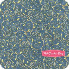 Nighty Night Owl Blue Leafy Scroll Yardage SKU# 87621-427W