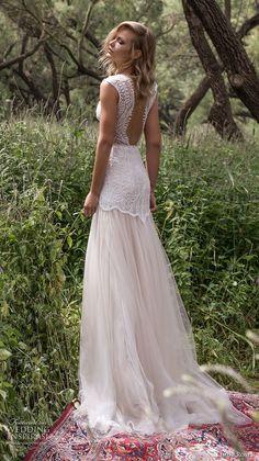limor rosen 2017 bridal sleeveless v neck heavily embellished bodice romantic drop waist tulle skirt a  line wedding dress low back sweep ttrain (eve) bv #weddingdresses