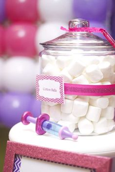 Marshmallow cotton balls at a Doc McStuffins birthday  party! See more party planning ideas at CatchMyParty.com!
