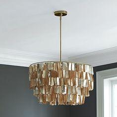 Round Capiz Chandelier - Gold #westelm This looks so amazing against the dark grey walls.