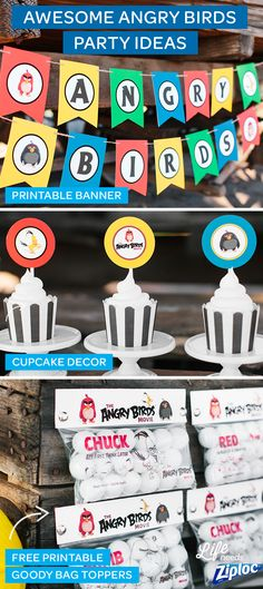 Check out these great decoration ideas for an Angry Birds birthday party. Enjoy free printables like banners, cupcake toppers, and goody bag toppers (easy to DIY with Ziploc® Sandwich bags), plus recipes and crafts for drinks, snacks, and kids' games! Celebrate the release of the movie with the characters Chuck, Bomb, and Red in a backyard party that's sure to thrill your littlest fans. The Angry Birds Movie is in theaters now! ©2016 Rovio