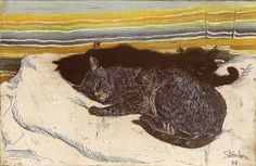 Deux Chats Theophile Steinlen http://www.thegreatcat.org/cats-19th-century-part-6-cats-art/