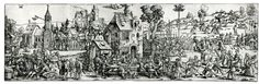 1535 Sebald Beham - Large Peasant Holiday or Village Fair, woodcut printed from four blocks on four sheets joined to form continuous frieze.    British Museum