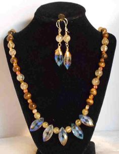 STUNNING MATCHING SET TIGER EYE AND RUTILATED QUARTZ NECKLACE AND EARRINGS #Handmade