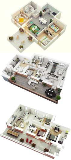 3 Bedroom 3 D Floor Plans   Visualizer: Jeremy Gamelin 3d House Plans, Bungalow House Plans, House Blueprints, Dream House Plans, Small House Plans, The Plan, How To Plan, Apartment Floor Plans, Bedroom Floor Plans