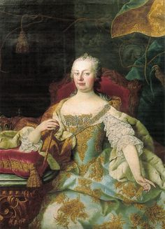 Marie's Mother ~ the most powerful woman of her time ~ A Portrait Of Maria Theresa, Archduchess Of Austria, Empress Of The Holy Roman Empire, Queen Of Hungary And Bohemia Roman History, Art History, 18th Century Wigs, Maria Theresia, Baroque Painting, Rococo Fashion, Holy Roman Empire, 18th Century Fashion, Women In History