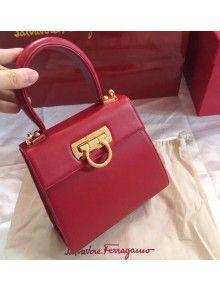 Ferragamo Small Calfskin Katia Satchel Top Handle Bag Red