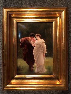 "Large Antique KPM Porcelain Hand Painted Berlin Plaque ""Two Lovers"" 1800's"